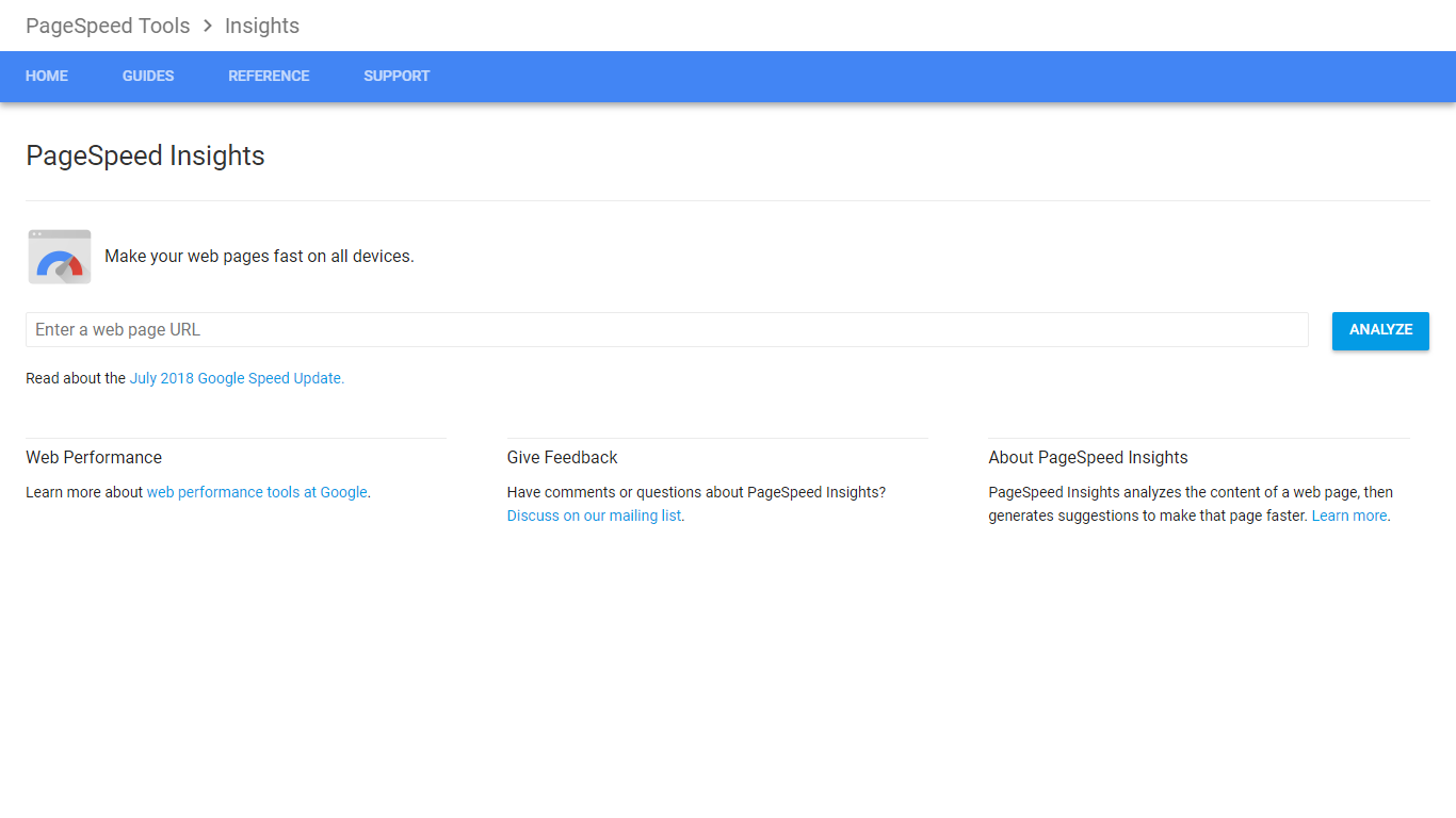 google page speed tool