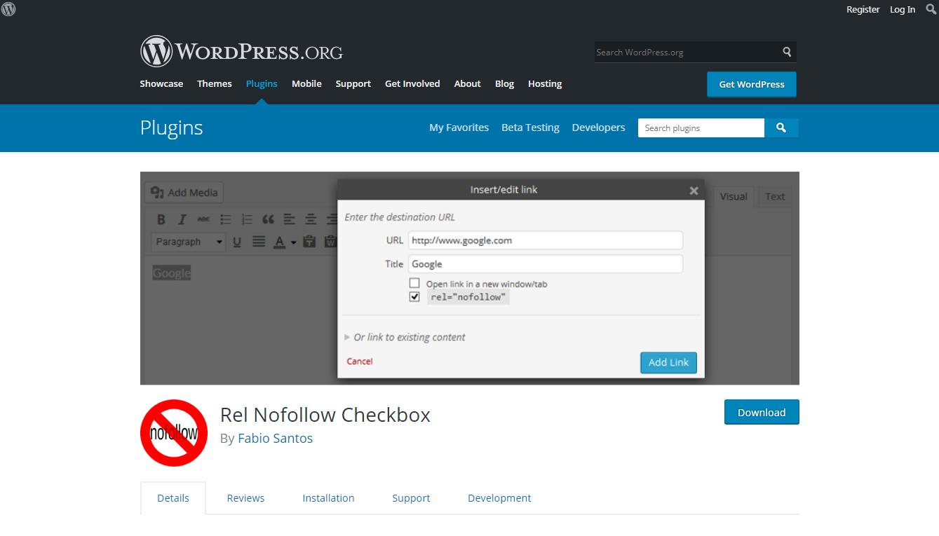 rel nofollow checkbox