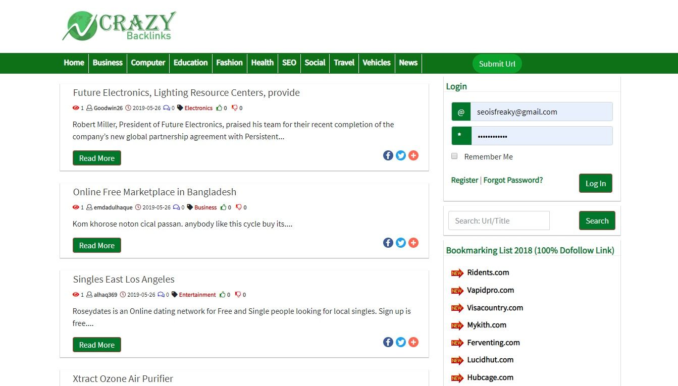 crazybacklink homepage