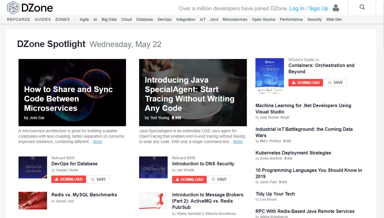 dzone homepage