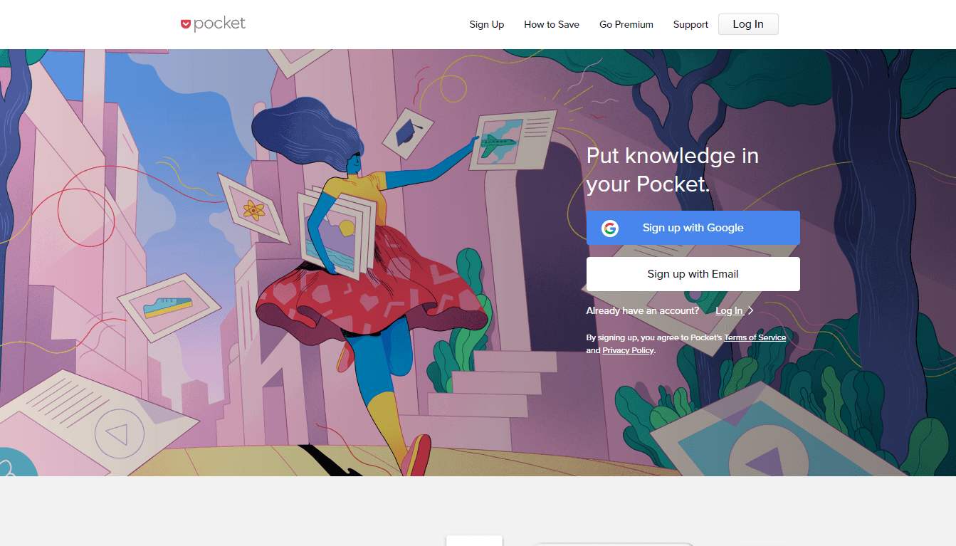 getpocket homepage