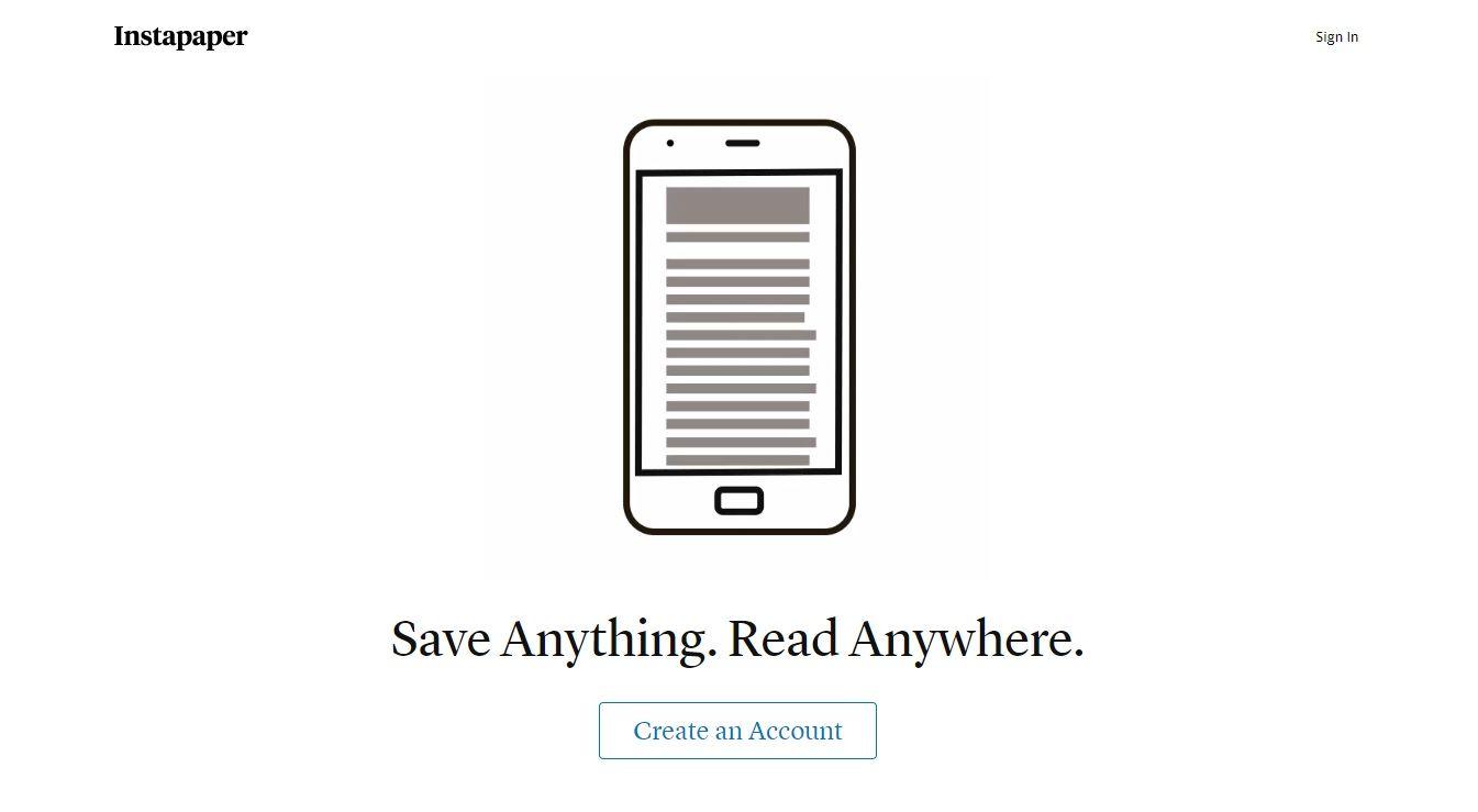 instapaper homepage
