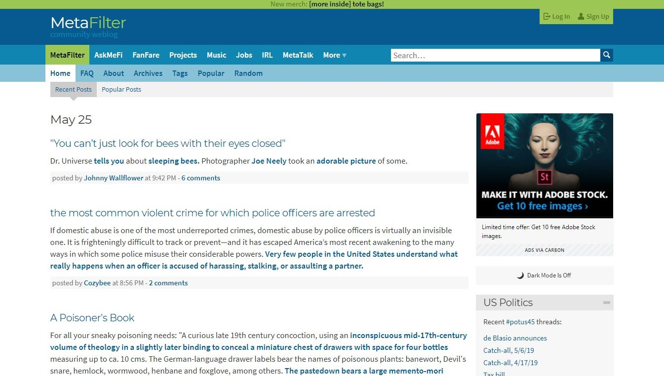 metafilter homepage
