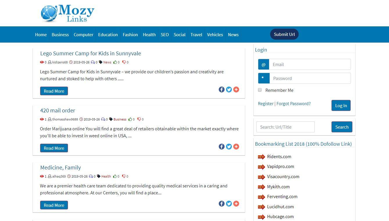 mozylinks homepage