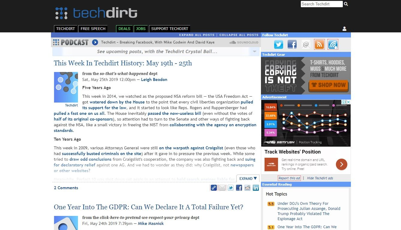 techdirt homepage
