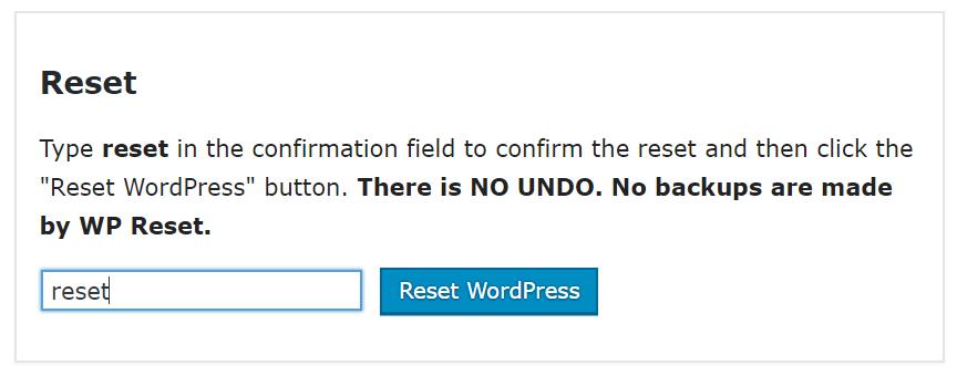 wp reset option
