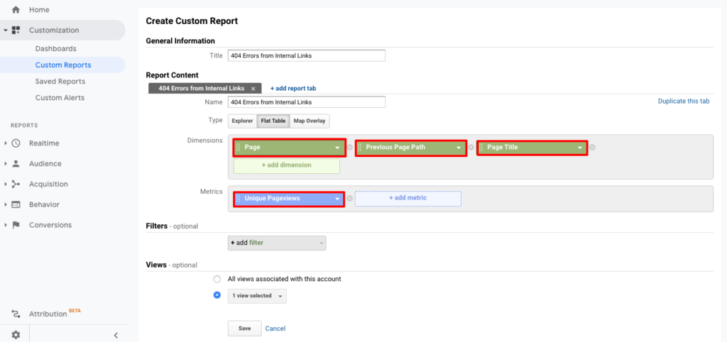 screenshot of analytics custom report content